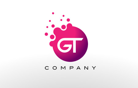 gt: GT Letter Dots Logo Design with Creative Trendy Bubbles and Purple Magenta Colors.