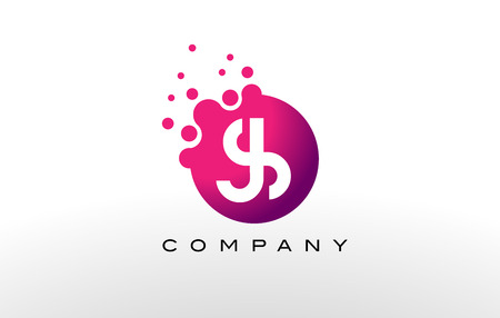 JS Letter Dots Logo Design with Creative Trendy Bubbles and Purple Magenta Colors.