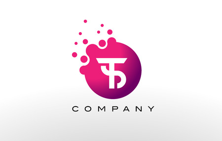 TS Letter Dots Logo Design with Creative Trendy Bubbles and Purple Magenta Colors.