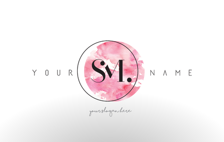 SM Watercolor Letter Logo Design with Circular Pink Brush Stroke.