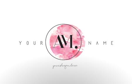 AM Watercolor Letter Logo Design with Circular Pink Brush Stroke. Illustration