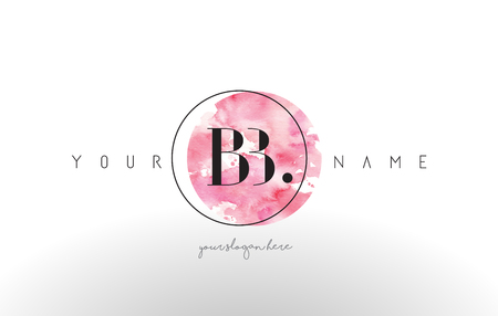 BB Watercolor Letter Logo Design with Circular Pink Brush Stroke. Vectores