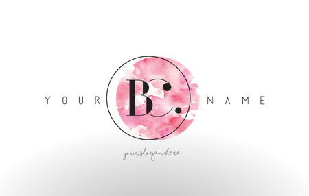 be the identity: BC Watercolor Letter Logo Design with Circular Pink Brush Stroke. Illustration