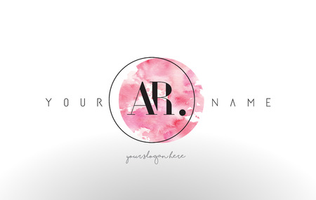 AR Watercolor Letter Logo Design with Circular Pink Brush Stroke.