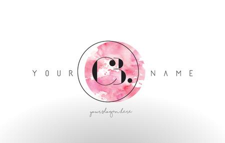 cz: CB Watercolor Letter Logo Design with Circular Pink Brush Stroke. Illustration