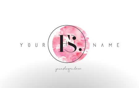 FS Watercolor Letter Logo Design with Circular Pink Brush Stroke.
