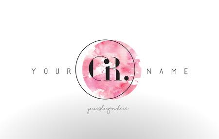 GR Watercolor Letter Logo Design with Circular Pink Brush Stroke. Logo
