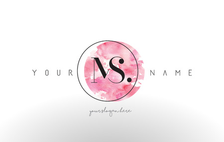 MS Watercolor Letter Logo Design with Circular Pink Brush Stroke.