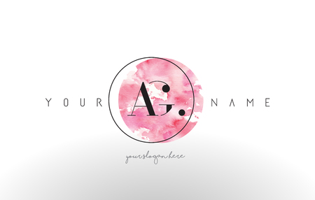 ag: AG Watercolor Letter Logo Design with Circular Pink Brush Stroke. Illustration