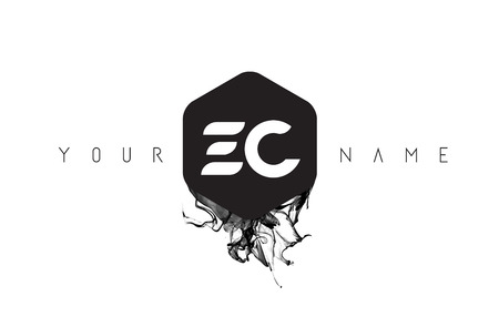 ec: EC Black Ink Letter Logo Design with Rounded Hexagon Vector.