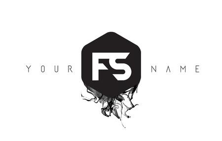 FS Black Ink Letter Logo Design with Rounded Hexagon Vector. Ilustração