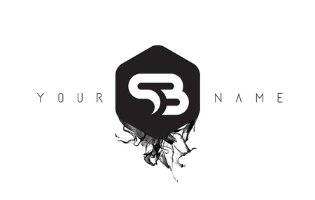 SB Black Ink Letter Logo Design with Rounded Hexagon Vector.