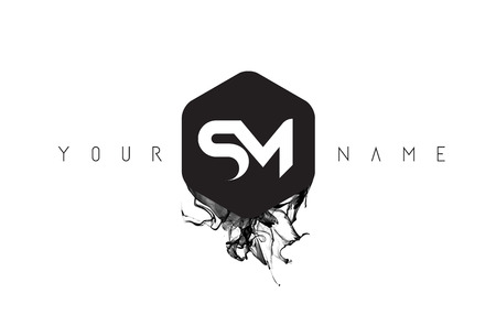 SM 黒インク文字ロゴ デザインと丸みを帯びた六角形ベクトル。