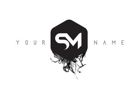 SM Zwart Inkt Letter Logo Ontwerp Met Afgeronde Zeshoek Vector.