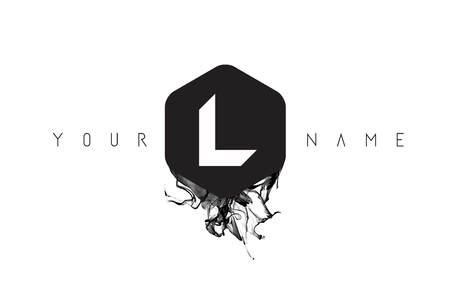 L Black Ink Letter Logo Design with Rounded Hexagon Vector.