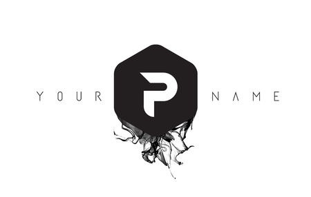 P Black Ink Letter Logo Design with Rounded Hexagon Vector. Logo