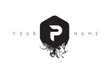 P Black Ink Letter Logo Design with Rounded Hexagon Vector. Ilustração
