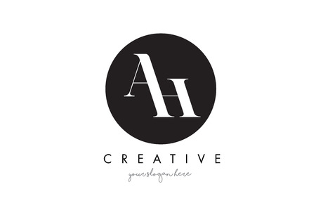 AH Letter Logo Design with Black Circle and Serif Font Vector Illustration. Illustration
