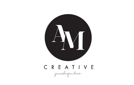 AM Letter Logo Design with Black Circle and Serif Font Vector Illustration.