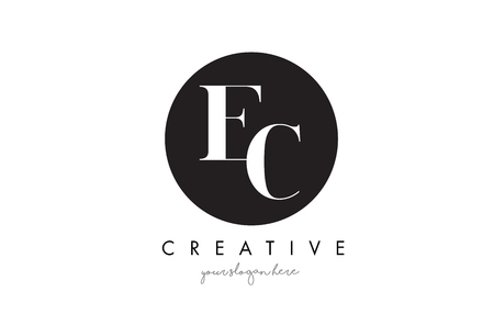 ec: EC Letter Logo Design with Black Circle and Serif Font Vector Illustration.