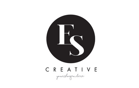 ES Letter Logo Design with Black Circle and Serif Font Vector Illustration.
