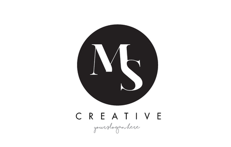 MS Letter Logo Design with Black Circle and Serif Font Vector Illustration.