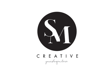 SM Letter Logo Design with Black Circle and Serif Font Vector Illustration.