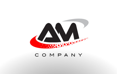 AM Modern Letter Logo Design with Creative Red Dotted Swoosh Vector