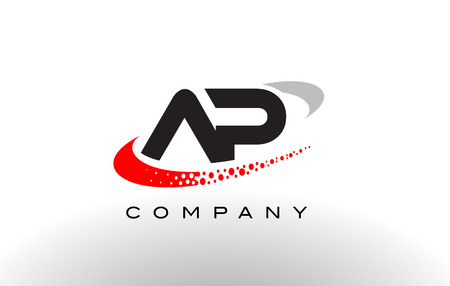 ap: AP Modern Letter Logo Design with Creative Red Dotted Swoosh Vector Illustration