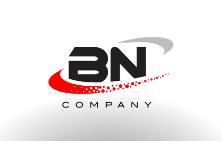 BN Modern Letter Logo Design with Creative Red Dotted Swoosh Vector