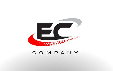 ec: EC Modern Letter Logo Design with Creative Red Dotted Swoosh Vector