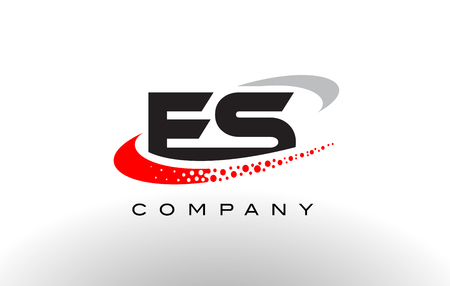 ES Modern Letter Logo Design with Creative Red Dotted Swoosh Vector