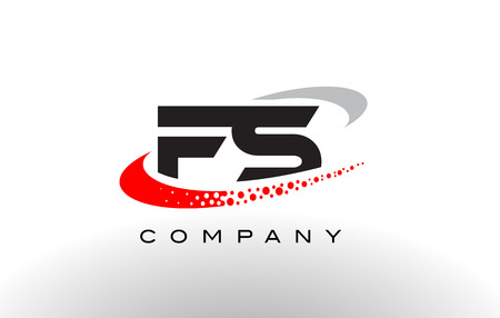 FS Modern Letter Logo Design with Creative Red Dotted Swoosh Vector
