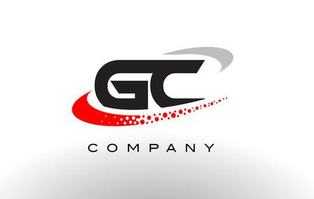 GC 현대 편지 로고 디자인 크리 에이 티브 레드 점선 된 Swoosh 벡터와 함께