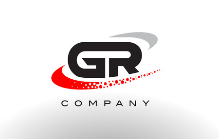 GR Modern Letter Logo Design with Creative Red Dotted Swoosh Vector Stock Vector - 73712139