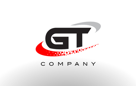 gt: GT Modern Letter Logo Design with Creative Red Dotted Swoosh Vector Illustration