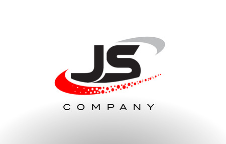 js: JS Modern Letter Logo Design with Creative Red Dotted Swoosh Vector