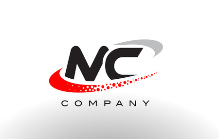MC Modern Letter Logo Design with Creative Red Dotted Swoosh Vector