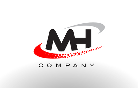 MH Modern Letter Logo Design with Creative Red Dotted Swoosh Vector Logó