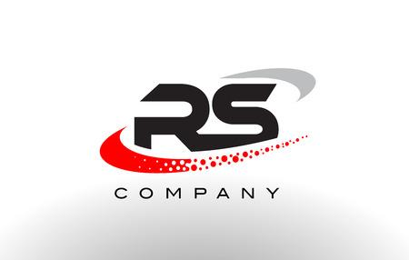 RS 現代文字ロゴ デザイン創造的な赤いドットがベクトルをシューッという音します。