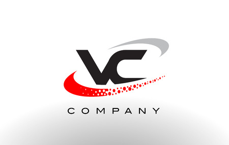 VC Modern Letter Logo Design with Creative Red Dotted Swoosh Vector