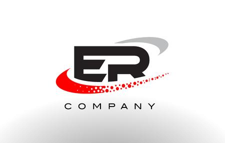 ER Modern Letter Logo Design with Creative Red Dotted Swoosh Vector Logó