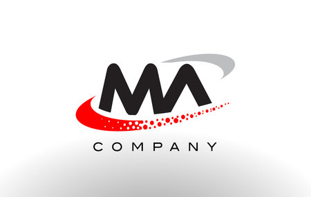 MA Modern Letter Logo Design with Creative Red Dotted Swoosh Vector