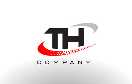 TH Modern Letter Logo Design with Creative Red Dotted Swoosh Vector