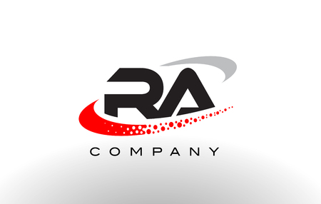 RA Modern Letter Logo Design with Creative Red Dotted Swoosh Vector
