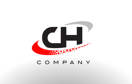 CH Modern Letter Logo Design with Creative Red Dotted Swoosh Vector Illustration