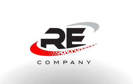 RE Nowoczesny list Logo Design z kreatywnych czerwony kropkowany wektor Swoosh