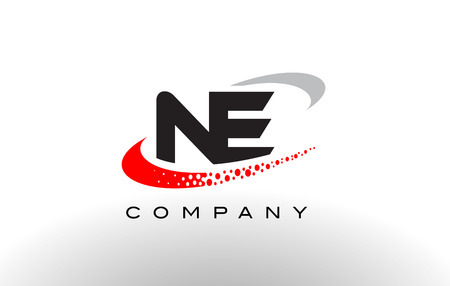 ne: NE Modern Letter Logo Design with Creative Red Dotted Swoosh Vector
