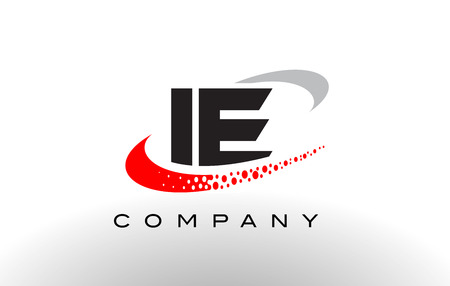 ie: IE Modern Letter Logo Design with Creative Red Dotted Swoosh Vector Illustration