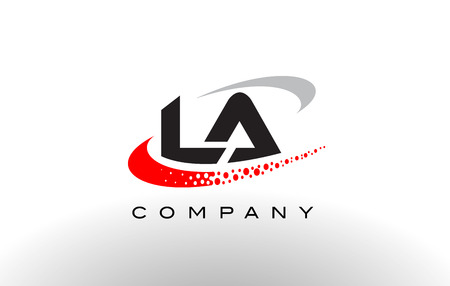 LA Modern Letter Logo Design with Creative Red Dotted Swoosh Vector